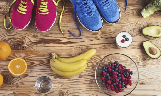 Scarpe e cibo sano