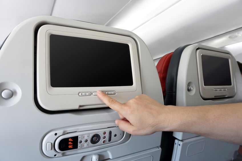 Schermo nel sedile dell'aereo