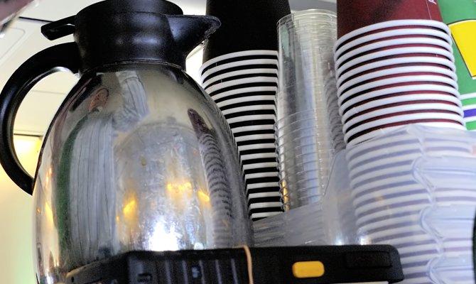 Caraffa del caffè in aereo