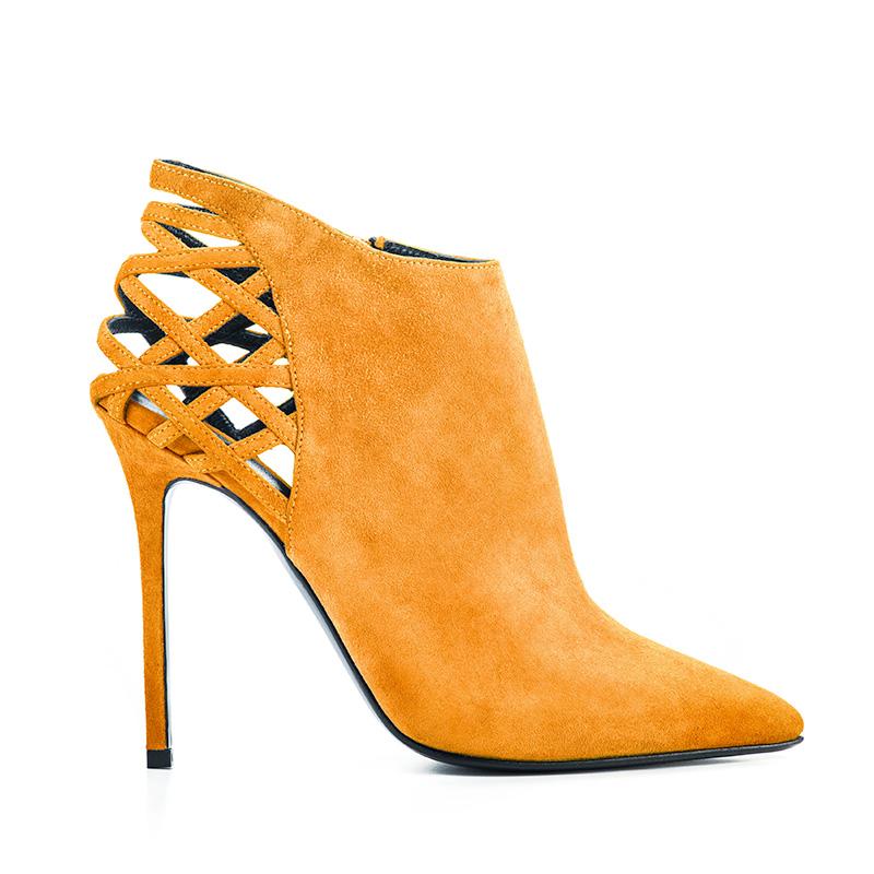 Ankle boot Elisabeth by Simone Castelletti in camoscio con tallone intrecciato e tacco a spillo 11 cm