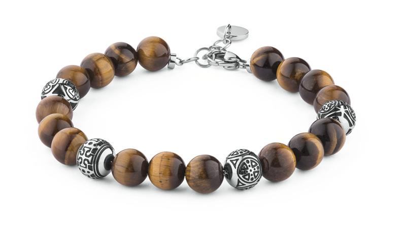 Bracciale Karma Collection by Brosway con beads rotonde in acciaio, smalto nero e palline in occhio di tigre giallo