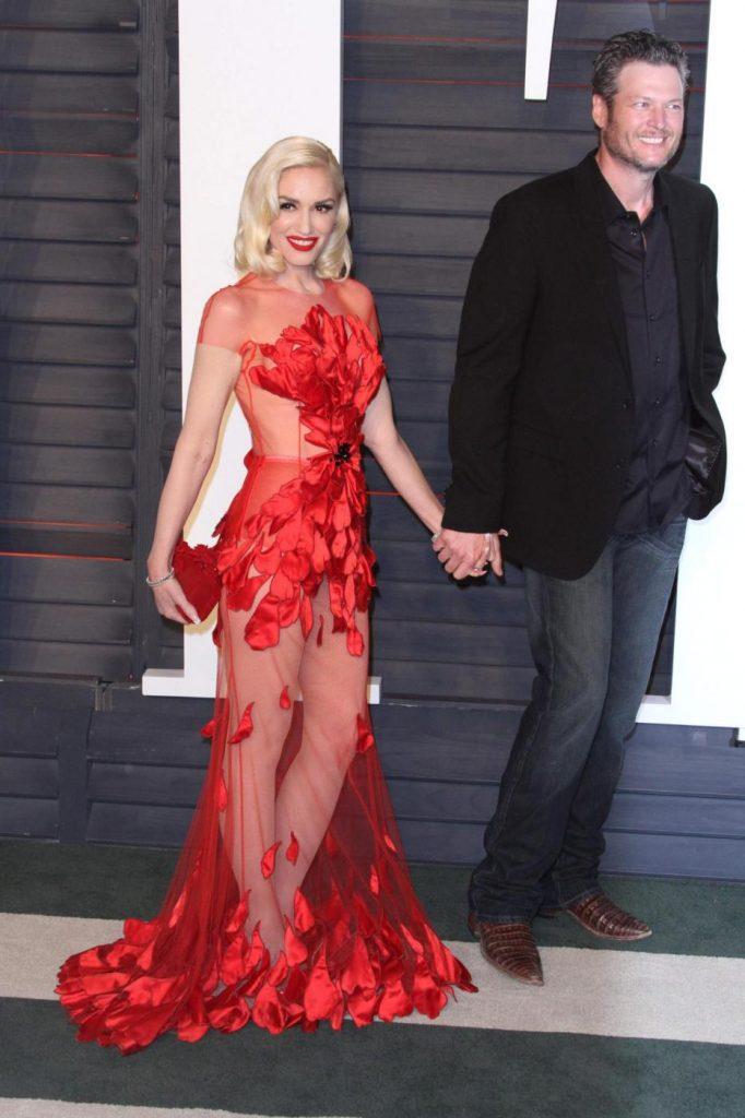 Gwen Stefani col fidanzato Blake Shelton. Foto LaPresse