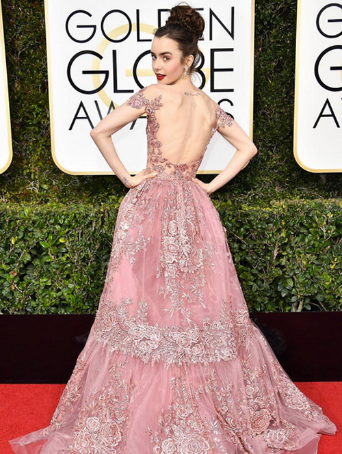 Lily Collins ai Golden Globe