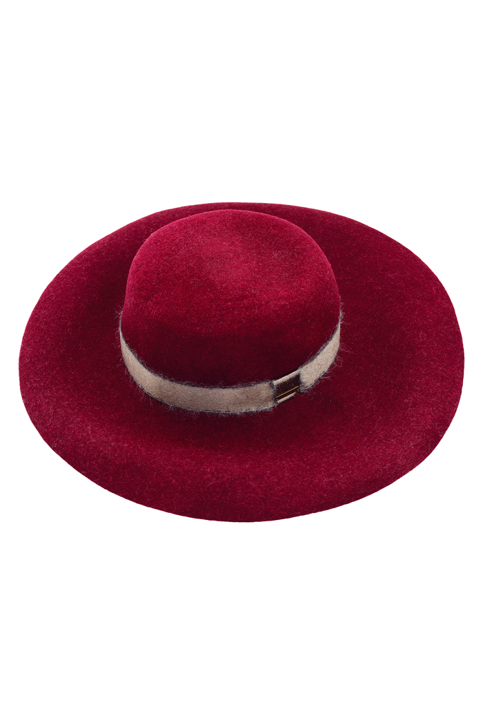 cappelli femminili a tesa larga bordeaux 100% Lana, by Intropia