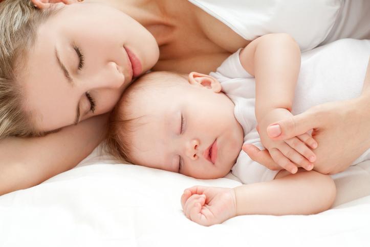 madre, figlio, culla, letto