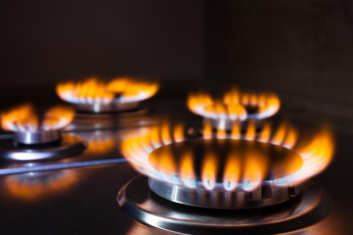 bruciature, fiamme, cucina, gas