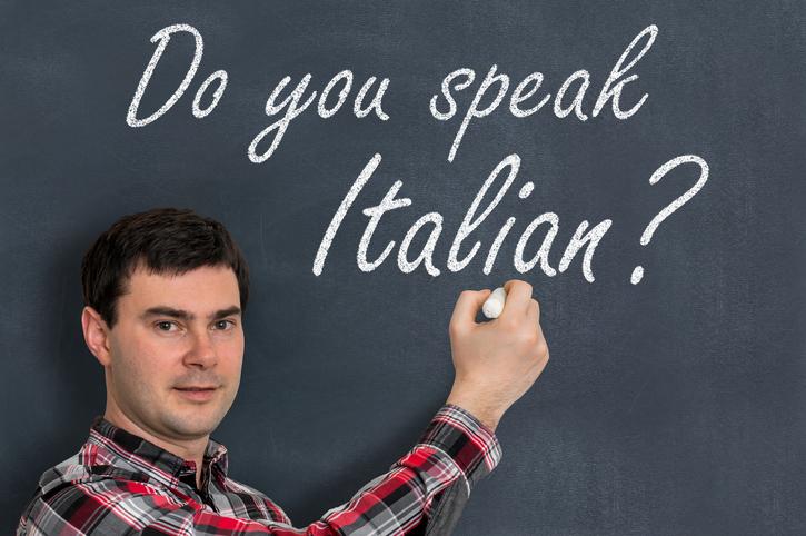 poliglotta, straniero, italiano, lavagna