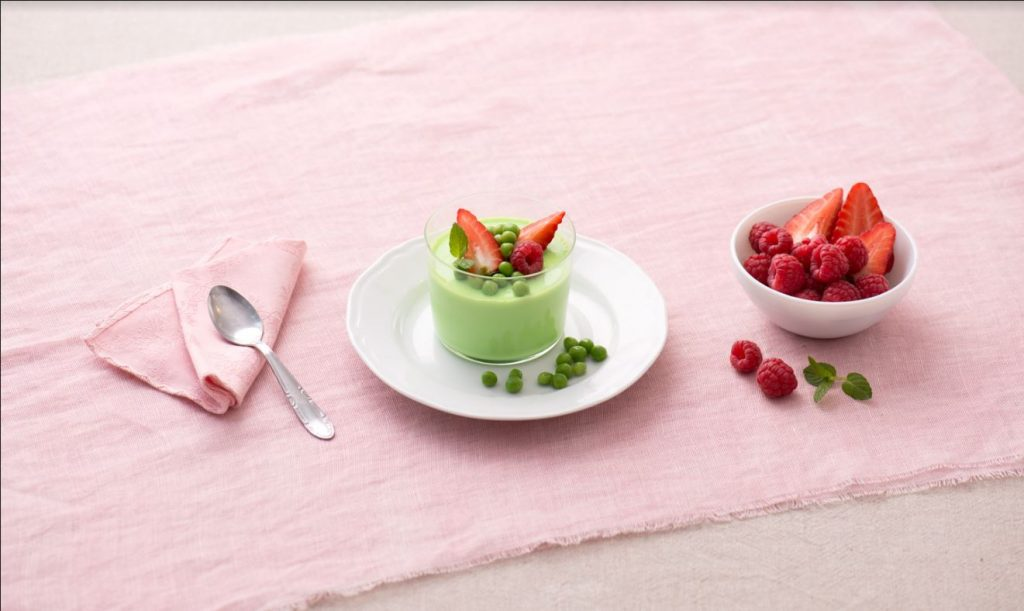 Pannacotta green con piselli