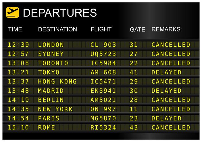Disagi in aeroporto: ritardi e cancellazione voli