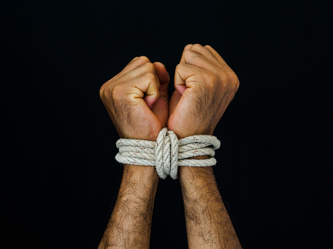 whisper, bondage, uomo con corde