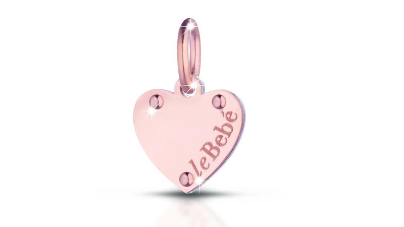 Ciondolo con cuore in oro rosa e argento