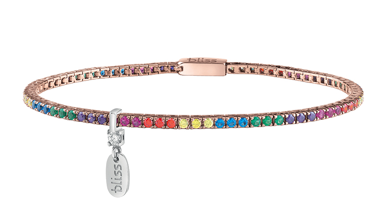 Bracciale Tennis in Argento Rosè e Cubic Zirconia Rainbow by Bliss