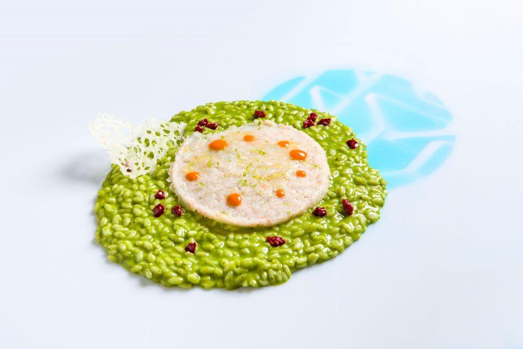 Primi piatti: Risotto alla clorofilla di prezzemolo con gamberi