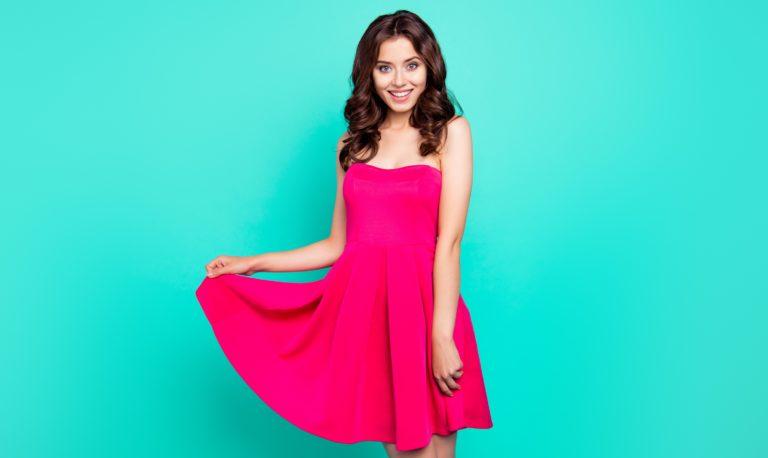 abito spalle scoperte rosa